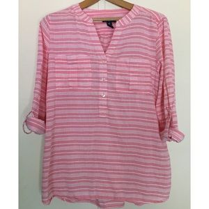 Gap Pink and White Striped Tunic Blouse